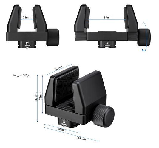 LEOFOTO GS-2 Rifle Clamp Support Mount w 60mm QR Clamp ArcaRRS Compatible_Specs